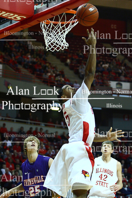07 January 2012:  Anthony Cousin during an NCAA Missouri Valley Conference mens basketball game Where the Purple Aces of Evansville lost to the Illinois State Redbirds 75-73 in Redbird Arena, Normal IL