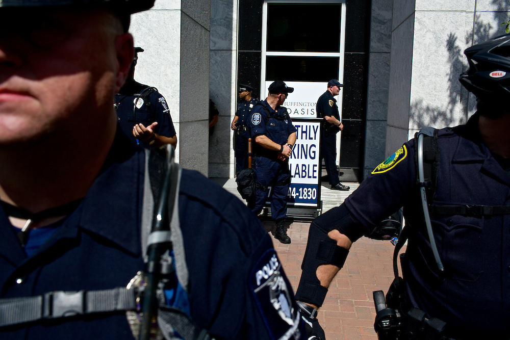 North Carolina police officers guard Duke Energy's headquarters two days before the 2012 Democratic National Convention in Charlotte, N.C. on Sept. 2, 2012.