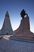 Hallgrimskirkja and Leifur Eiriksson, Reykjavík, Iceland