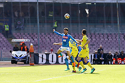 April 8, 2018 - Napoli, Napoli, Italy - Naples - Italy 08/04/2018.DRIES MERTENS of  S.S.C. NAPOLI   and GOBBI MASSIMO  of CHIEVO VERONA  fights for the ball during SERIE A TIM  match between S.S.C. NAPOLI and CHIEVO VERONA  at Stadio San Paolo of Naples..Final scores S.S.C. NAPOLI - CHIEVO VERONA 2-1  (Credit Image: © Emanuele Sessa/Pacific Press via ZUMA Wire)