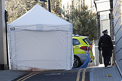 © Licensed to London News Pictures. 05/04/2018. London, UK. Police attend the scene in Hackney after a 20 year old man was stabbed in Hackney. Police were approached by a man suffering from stab injuries at 8pm last night he was pronounced dead at 8. 24pm. Photo credit: Peter Macdiarmid/LNP