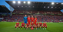 CARDIFF, WALES - Friday, September 6, 2019: Wales players line-up for a team group photograph before the UEFA Euro 2020 Qualifying Group E match between Wales and Azerbaijan at the Cardiff City Stadium. Back row L-R: goalkeeper Wayne Hennessey, Chris Mepham, Joe Rodon, Ethan Ampadu. Front row L-R: Daniel James, Neil Taylor, Joe Allen, Gareth Bale, Connor Roberts, Tom Lawrence, Harry Wilson. (Pic by David Rawcliffe/Propaganda)