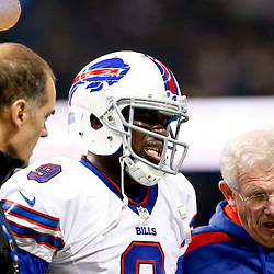 Oct 27, 2013; New Orleans, LA, USA; Buffalo Bills quarterback Thad Lewis (9) is walks off the field during the first quarter of a game against the New Orleans Saint at Mercedes-Benz Superdome. Mandatory Credit: Derick E. Hingle-USA TODAY Sports