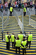 General view of the exterior of the stadium showing security guards at the entrance to the stadium pictured ahead of the UEFA Champions League Final at Estádio da Luz, Lisbon<br /> Picture by Ian Wadkins/Focus Images Ltd +44 7877 568959<br /> 24/05/2014