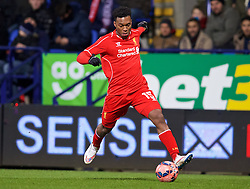 BOLTON, ENGLAND - Wednesday, February 4, 2015: Liverpool's Daniel Sturridge in action against Bolton Wanderers during the FA Cup 4th Round Replay match at the Reebok Stadium. (Pic by David Rawcliffe/Propaganda)