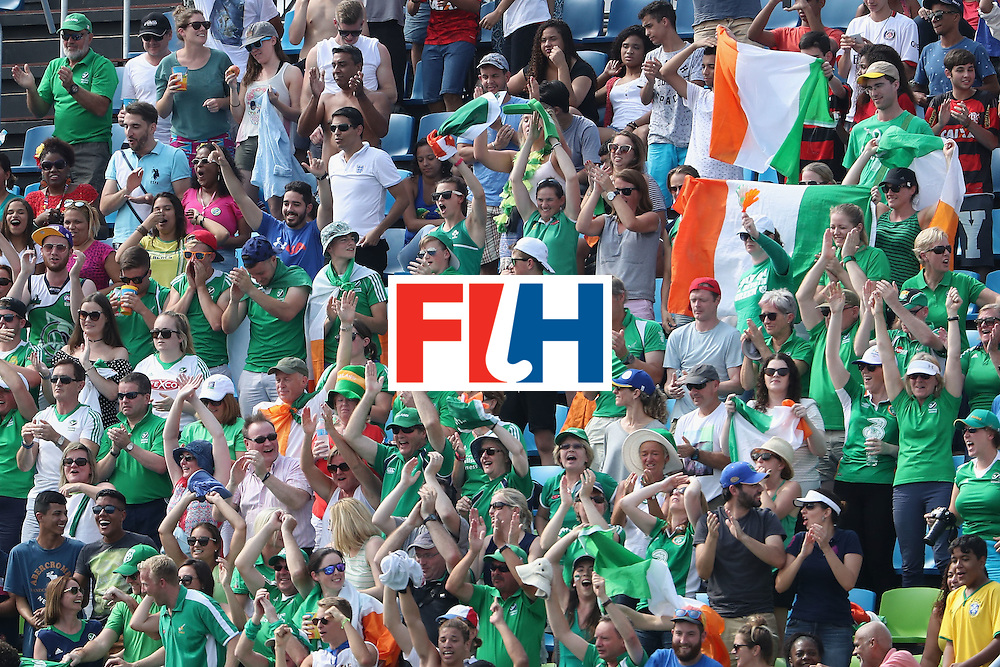 RIO DE JANEIRO, BRAZIL - AUGUST 09:  Fans of Ireland cheer during the hockey game against Germany on Day 4 of the Rio 2016 Olympic Games at the Olympic Hockey Centre on August 9, 2016 in Rio de Janeiro, Brazil.  (Photo by Christian Petersen/Getty Images)