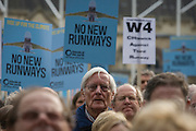 The white middle-classes gathered in Parliament Square to protest against plans for a third runway at Heathrow airport - blighting, they say, thousands of homes in London's aviation hub's flight paths - especially to the west of the capital. Central to the demonstration were both London mayoral candidates: the Conservative Zac Goldsmith and Labour's Sadique Khan. The £17bn expansion at Heathrow would mean 250,000 more flights a year.
