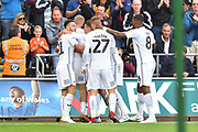 Goal - Connor Roberts (23) of Swansea City celebrates scoring a goal to give a 2-0 lead to the home team during the EFL Sky Bet Championship match between Swansea City and Queens Park Rangers at the Liberty Stadium, Swansea, Wales on 29 September 2018.