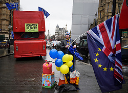 © Licensed to London News Pictures. 29/03/2018. London, UK. Anti-Brexit campaigners outside the House of Parliament in Westminster, London a year ahead of the UK leaving the EU on March 29, 2019 . Photo credit: Ben Cawthra/LNP