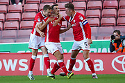 Barnsley defender Matty Pearson (24)  scores a goal and celebrates to make the score 1-0 during the EFL Sky Bet Championship match between Barnsley and Nottingham Forest at Oakwell, Barnsley, England on 15 August 2017. Photo by Simon Davies.