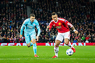MANCHESTER, Manchester United - PSV, voetbal Champions League groepsfase, seizoen 2015-2016, 25-11-2015, Old Trafford, Manchester United speler Memphis Depay (R), PSV speler Santiago Arias (L).