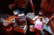 PHOTOGRAPH BY HOWARD BARLOW.BLOKES BOOK CLUB MEETING AT THE BRITONS PROTECTION PUB IN CITY CENTRE  MANCHESTER