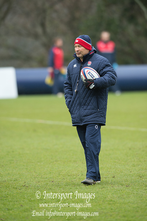 Bagshot, Surrey. UK.<br /> Coach, Eddie JONES,<br /> RFU. England Rugby Team, Training session at the Pennyhill Park training complex. <br /> <br /> [Mandatory Credit: Peter SPURRIER;Intersport images]