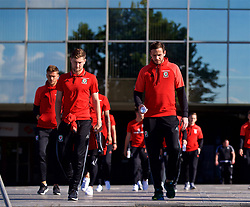 BELGRADE, SERBIA - Sunday, June 11, 2017: Wales' Ben Davies and goalkeeper Daniel Ward during a team walk around the Hyatt Regency Hotel before the 2018 FIFA World Cup Qualifying Group D match between Wales and Serbia. (Pic by David Rawcliffe/Propaganda)