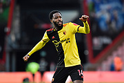 Nathaniel Chalobah (14) of Watford celebrates the 3-0 win at full time during the Premier League match between Bournemouth and Watford at the Vitality Stadium, Bournemouth, England on 12 January 2020.