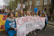 Campaigners against the closure by Lambeth council  of Carnegie Library in Herne Hill, south London, march through the borough, some after emerging from the premises on the 10th day of occupation, 9th April 2016. The local community have been occupying their important resource for learning and social hub and after a long campaign, Lambeth have gone ahead and closed the library's doors for the last time because they say, cuts to their budget mean millions must be saved. They plan to re-purpose it into a gym although details are unknown.