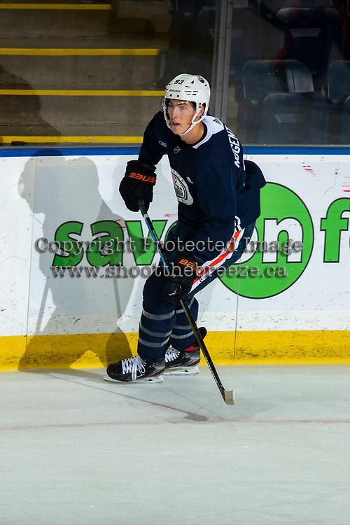 KELOWNA, BC - SEPTEMBER 22:  Ryan Nugent-Hopkins #93 of the Edmonton Oilers skates durign practice at Prospera Place on September 22, 2019 in Kelowna, Canada. (Photo by Marissa Baecker/Shoot the Breeze)