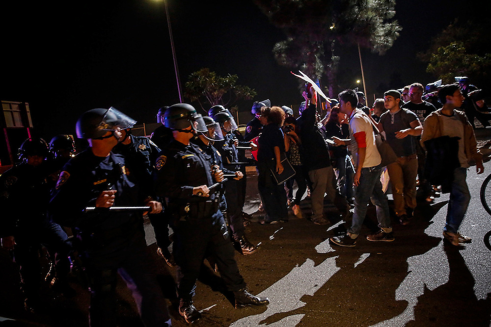 Protesters react to the grand jury decision in Ferguson block the eastbound 10 Freeway at La Brea in TKTKTKTKTKT on Monday, November 24, 2014 in Los Angeles, Calif. © 2014 Patrick T. Fallon - All Rights Reserved, No Use Without Permission