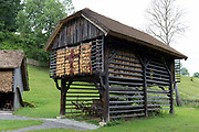 A traditional Slovenian Barn at the Rogatec Open Air Museum, very close to the Croatian border, on 24th June 2018, in Rogatec, Slovenia. The museum of relocated and restored 19th and early 20th century farming buildings and houses represents folk architecture in the area south of the Donacka Gora and Boc mountains.