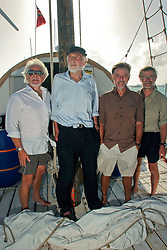 06 April 2011. St Maarten, Antilles, Caribbean.<br /> Crew of the Antiki arrive in the islands following their epic 9 week trans-Atlantic raft voyage from the Canary islands. <br /> L/R; John Russell, solicitor and UK resident, Anthony Smith (84 yrs old) British adventurer, David Hildred, sailing master and British Virgin Islands resident,  Dr Andrew Bainbridge of Alberta, Canada.<br /> Photo; Charlie Varley/varleypix.com