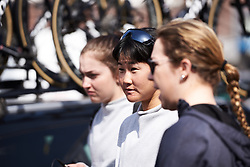 Eri Yonamine (JPN) at the Wiggle High5 team talk at Healthy Ageing Tour 2018 - Stage 5, a 94.3 km road race in Groningen on April 8, 2018. Photo by Sean Robinson/Velofocus.com