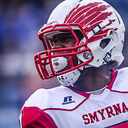 Smyrna Eagles wide receiver STEPHEN WHALEY (7) celebrates after scoring a touchdown in the third quarter of the 2017 DIAA Division I state championship game between the Smyrna Eagles and Middletown Cavaliers Saturday, Dec. 02, 2017 at Delaware Stadium in Newark, DE.