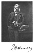 Thomas, Henry Huxley (1825-1895) English biologist and man of science. Supporter of Darwin. After portrait by John Collier. From Edward Clodd 'Pioneers of Evolution', London, 1908