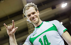 Andrej Tot of Panvita Pomgrad celebrates after winning during volleyball game between OK ACH Volley and OK Panvita Pomgrad in 1st final match of Slovenian National Championship 2013/14, on April 6, 2014 in Arena Tivoli, Ljubljana, Slovenia. Photo by Vid Ponikvar / Sportida