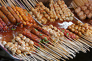 Food stalls at Tha Thien Express Boat station. Skewers.