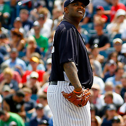 March 11, 2012; Tampa Bay, FL, USA; New York Yankees starting pitcher CC Sabathia (52) on the mound during the top of the third inning of a spring training game against the Philadelphia Phillies at George M. Steinbrenner Field. Mandatory Credit: Derick E. Hingle-US PRESSWIRE