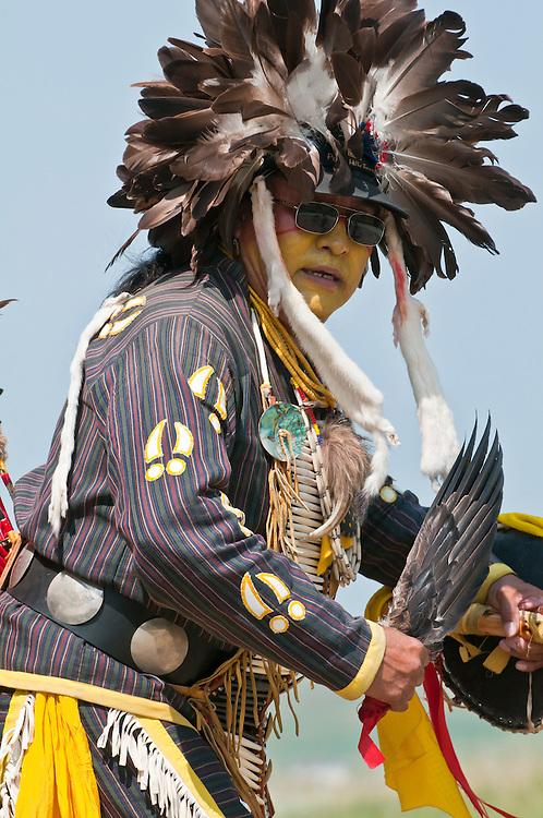 Adult male dancer, elder, Pow-wow, Blackfoot Crossing Historical Park, Alberta, Canada