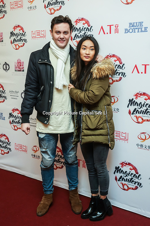 London,England,UK: 18th January 2016: Tyger Drew-Honey and guest attends the 'Magical Lantern Festival' VIP Night with an all-new show transforming historic Chiswick House Gardens into a fairytale world of light sculptures, Chinese arts, Virtual Reality, games & food with a funfair and 600 square metres ice rink at Chiswick House Gardens  from January 19th - February 26th. by See Li