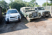 Three generations of Land Rover vehicles, UK
