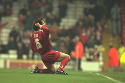 Liverpool, England - Wednesday, November 27th, 1996: Liverpool's Patrik Berger celebrates scoring the fourth goal during the 4-2 victory over Arsenal during the 4th Round of the League Cup at Anfield. (Pic by David Rawcliffe/Propaganda)