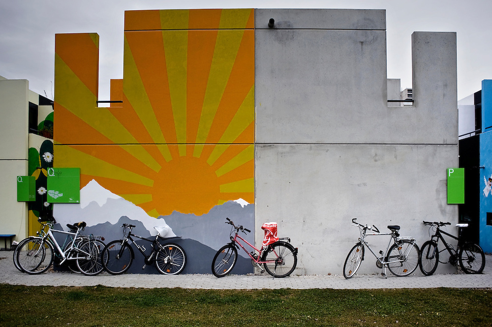 Munich, Germany. The painted wall of a students house at the Olympic village.