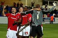 Photo: Paul Thomas.<br /> Chester City v Nottingham Forest. The Carling Cup. 14/08/2007.<br /> <br /> Sammy Clingan (L) and winning penalty taker Emile Sinclair (24) celebrate Forests win in a penalty shoot-out.