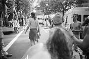Ravers dancing in the street,at the 2nd Criminal Justice March, Victoria, London, UK, 23rd of July 1994.