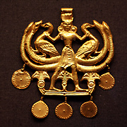Ancient Greek 'Palace Age' Minoan Gold pendant. Circa 1850-1550 BC. From the Aegina treasures held at the British Museum, London. Originally from Aegina, off the south coast of Greece