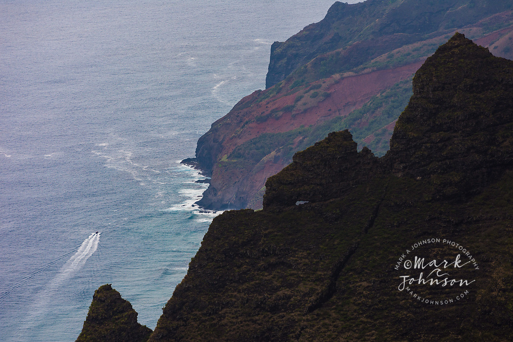 Tour Boat off the Na Pali Coast, Kauai, Hawaii