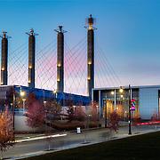 """Skystation"" pylons above Kansas City Convention Center"