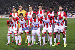 Players of Crvena Zvezda during football match between NK Crvena Zvezda Beograd and Arsenal FC in Group H of UEFA Europa League 2017/18, on October 19, 2017 in Stadion Rajko Mitic, Belgrade, Serbia. Photo by Marko Metlas / Sportida