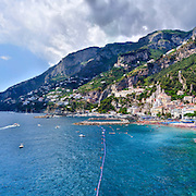 Amalfi, Panoramic Shot Of Sea And Mountains Against Sky