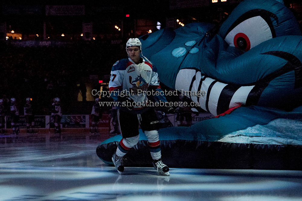 KELOWNA, CANADA - MARCH 11: Calvin Thurkauf #27 of the Kelowna Rockets skates to the bench against the Victoria Royals on March 11, 2017 at Prospera Place in Kelowna, British Columbia, Canada.  (Photo by Marissa Baecker/Shoot the Breeze)  *** Local Caption ***