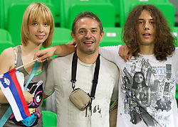 Tone Tiselj with his daughter Masa (L) and son Jasa (R) during the opening friendly football match at a new stadium in Stozice between National teams of Slovenia and Australia on August 11, 2010 in Ljubljana. Slovenia defeated Australia 2-0. (Photo by Vid Ponikvar / Sportida)