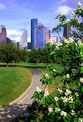 Stock photo of the view of the downtown Houston skyline from the hike & bike trail along Buffalo Bayou.