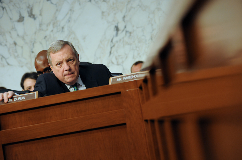 """Sen. Durbin enters the hearing room to hear the testimonies for """"The Respect for Marriage Act: Assessing the Impact of DOMA on American Families."""" Durbin, who voted for DOMA in 1996, quoted Abraham  Lincoln to explain why he changed his mind on the issue.  """"I'd rather be right some of the time than wrong all of the time."""""""