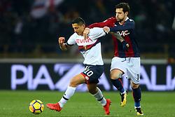 """Foto Filippo Rubin<br /> 24/02/2018 Bologna (Italia)<br /> Sport Calcio<br /> Bologna - Genoa - Campionato di calcio Serie A 2017/2018 - Stadio """"Renato Dall'Ara""""<br /> Nella foto: MATTIA DESTRO  (BOLOGNA) CONTRO GIANLUCA LAPADULA (GENOA)<br /> <br /> Photo by Filippo Rubin<br /> February 24, 2018 Bologna (Italy)<br /> Sport Soccer<br /> Bologna vs Genoa - Italian Football Championship League A 2017/2018 - """"Renato Dall'Ara"""" Stadium <br /> In the pic: MATTIA DESTRO  (BOLOGNA) VS GIANLUCA LAPADULA (GENOA)"""
