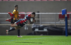 Tusi Pisi of Bristol Rugby dives over the line to score - Mandatory by-line: Paul Knight/JMP - 22/12/2017 - RUGBY - Ashton Gate Stadium - Bristol, England - Bristol Rugby v Cornish Pirates - Greene King IPA Championship
