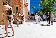 31-10-2016 PERTH -  King Willem-Alexander and Queen Maxima of The Netherlands during the traditional aboriginal welcome ceremony welcomed by Governor of West Australia Sanderson and Aboriginal elder Walley at the Government House in Perth, Australia, 31 October 2016. The Dutch King and Queen are in Australia for an 5 day state visit. COPYRIGHT ROBIN UTRECHT<br /> staatsbezoek van koning willem alexander en koningin maxima aan australie Aankomst van de Koning en Koningin. Begroeting door &nbsp;H.E. mevrouw K.G. Sanderson, Gouverneur van West- Australi&euml;; dr. R. Walley, Aboriginal ouderling; mevrouw R. Walley, echtgenote;  artiesten welkomstceremonie. Aanbieden geschenk door de heer Walley. Aanvang Aboriginal welkomstceremonie met rook, dans en muziek. Welkomstceremonie locatie: Government House staatsbezoek van koning willem alexander en koningin maxima aan Australi&euml;