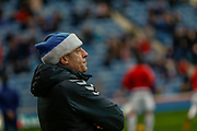 Rangers staff in the Christmas spirit wearing blue santa hats at the Ladbrokes Scottish Premiership match between Rangers and Hamilton Academical FC at Ibrox, Glasgow, Scotland on 16 December 2018.